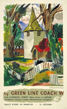 "Greenstead Church, Ongar, Essex - ""by Green Line coach""; poster by Clive Gardiner,1937"