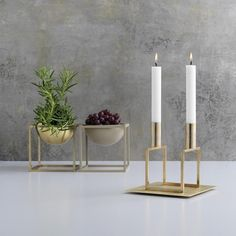 With a sharp sense of contemporary Functionalist style, Mogens Lassen designed the iconic Kubus candle holder in 1962, a piece once reserved solely for family and close architect colleagues.   In 1983 he re-approached his own geometric candle holders, and the result was Line, whose shape was conceived through a mathematical formula. The two candle holders form a single line, and the architectural look fits perfectly with contemporary minimalism. Kubus and Line is still crafted in Denmark…