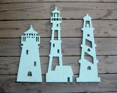 Lighthouse trio, wood, lighthouse, wall art, beach decor, nautical, cottage…