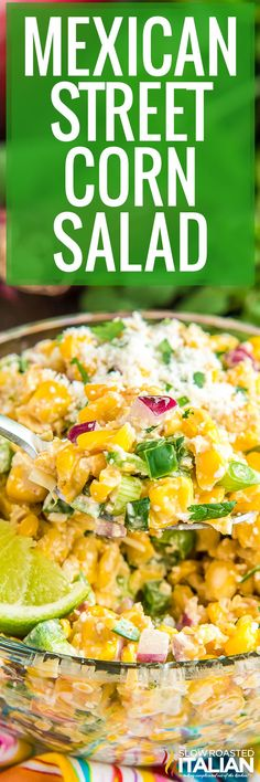 Mexican street corn salad is tangy and sweet with enough heat to make it interesting. Serve it with a weeknight meal or at your next cookout! #MexicanStreetCornSalad #Salad #SideDish Corn Recipes, Side Recipes, Veggie Recipes, Mexican Food Recipes, New Recipes, Real Food Recipes, Salad Recipes, Mexican Dishes, Cooking Recipes