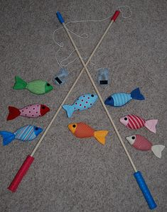 Felt fish and fishing pole and other cute kid stuff. This site also has some cute Halloween costume ideas for kids