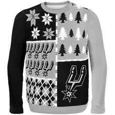 San Antonio Spurs Gray Busy Block Ugly Sweater