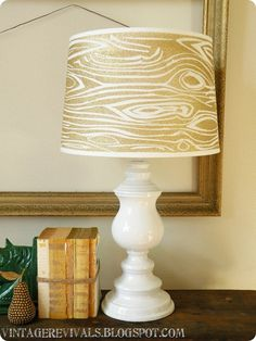 "Wood Grain Glitter Lampshade Lovelyness via: VintageRevivals.com (She used Krylon's Glitter Blast) all I can say is, ""It's Awesome!!"""