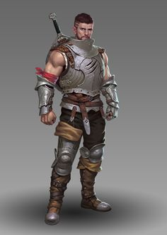 Male warrior , sellsword, adventurer, Young, hairstyle , plate armor, D&D, RPG by the great Jia Cai !!