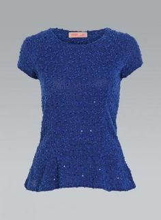 Royal Blue Tweed Peplum Top with All Over Sequin Detail,  Top, peplum top  knit top, Casual