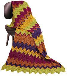 Madrid Ripple Stitch Afghan   Warm hues make up this intermediate ripple afghan