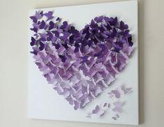 Mariposa pared Art 20 x 20 Ombre púrpura por ButterflyAndBaby