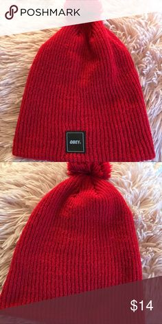 90d909090 obey knit hat red