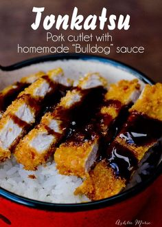 a classic japanese dinner - tonkatsu is a panko crusted pork cutlet served over rice and topped with a tangy tonkatsu sauce - recipe and video tutorial Pork Katsu Recipes, Pork Tonkatsu Recipe, Okonomiyaki Recipe, Tonkatsu Sauce, Cutlets Recipes, Pork Recipes For Dinner, Real Food Recipes, Cooking Recipes, Yummy Food