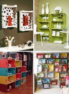 Ideas fantasticas para crear estanterias con cajas recicladas