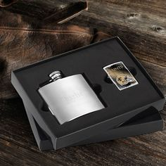 WhereBridesGo.com: Personalized Brushed Flask and NFL Zippo Lighter Gift Set