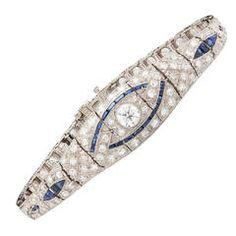 Art Deco J.E. Caldwell Sapphire Diamond Bracelet