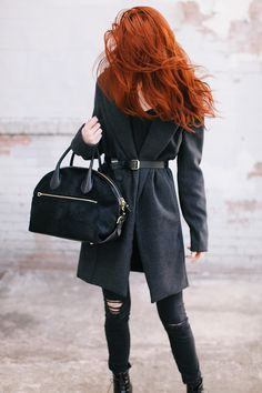 Knee-Length Coat + Belt + Black Top + Black Jeans + Lace-Up Boots