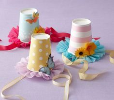 Paper Cup Party Hats - you could also attach them to head bands