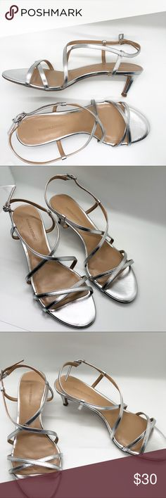 "Banana Republic Silver Strappy Sandal Heels 9 Banana Republic Leather Silver Strappy Sandal Heels Sz. 9. 3"" Heels  Condition: EUC, Soles have barely any wear. Light scuff marks where toes are not noticeable.. pictured.. Banana Republic Shoes Heels"