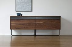 Metal and wood credenza