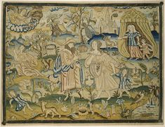 """Embroidered picture: """"Abraham's dismissal of Hagar"""""""