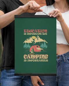 Education Is Important But Camping Is Importanter - Forest Green hammocking camping, m gifts, skiing gifts #handmadewithlove #cotton #etsyshop, dried orange slices, yule decorations, scandinavian christmas Rei Camping, Backyard Camping, Camping Humor, Camping Gift Baskets, Camping Gifts, Camping Ideas, Dried Orange Slices, Dried Oranges, Camp Counselor Gifts