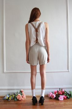 High Waisted Shorts with Suspenders