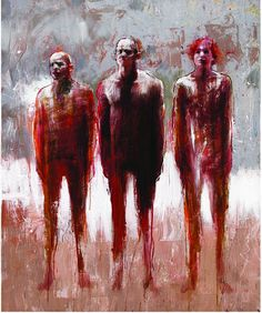 made by: Christophe Hohler , 'Les trois accusés' (The Three Accused) - Oil on canvas Art Works, Art Painting, Fine Art, Figure Painting, Life Drawing, A Level Art, Figurative Art, Portrait Art, Interesting Art