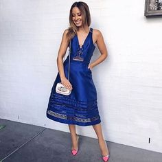 Jasmin Howell of the beautiful @friendinfashion blog  such a great colour on you!  available on our website now: link in bio☝#threefloor #friendinfashion #ootd #horizonbluedress
