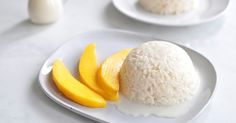 """First of all, I haven't used Thai sticky rice to make my sticky dessert. Also, I haven't added any sugar at all. I am so tempted to classify this recipe as a skinny version of the famous Thai dessert featuring coconut milk and rice, you can call """"Mango Sticky Rice"""". No, I'm not going to do it because who knows how many calories are in this dish even though I skipped the sugar (side note: I think as bloggers we use the words """"healthy"""" and """"skinny"""" too easily)."""