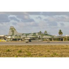 Brazilian Air Force F-5 at Natal Air Force Base Brazil Canvas Art - Giovanni CollaStocktrek Images (34 x 23)