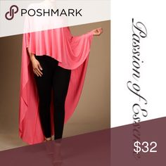 Cyber Monday Coral Bo- Chic Off The Shoulder Top Cyber Monday Sale now $20 Add this beautiful top to your collection while you walking down the runway in this fashion high low top is a eye catcher. The Color is Coral Made In USA Fabric 95% Rayon 5% Spandex Passion of Essense Tops