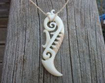 Koru, Traditional hand carved Maori tribal bone pendant