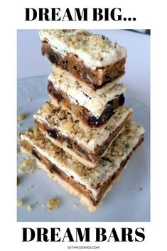 Dream Bars is the best and super easy recipe to make.So,if you are in mood to do some baking I have perfect recipe for you.It is called Dream Bars. Brownie Recipes, Cookie Recipes, Dessert Recipes, Cheesecake Desserts, Dinner Recipes, Dream Bars, Star Cakes, Never Stop Dreaming, Party Food And Drinks