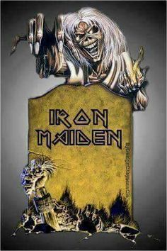 Iron Maiden are an English heavy metal band formed in 1975 Hard Rock, Heavy Metal Art, Heavy Metal Bands, Bruce Dickinson, Rock Posters, Concert Posters, Iron Maiden Mascot, Iron Maiden Posters, Iron Maiden Albums