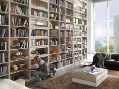 Librería abierta de madera --> Puertas del la librería