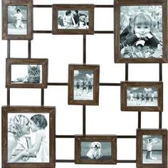 """9 attached metal frames with weathered details. Product: Frame decor    Construction Material: Metal   Color: Brown   Features: Streamlined framesHolds nine assorted photos   Dimensions: 31"""" H x 29"""" W (overall)"""