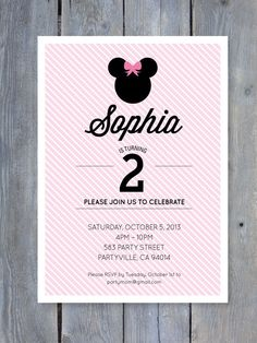 MINNIE Mouse Invitation for Birthday Party - Printable file 7x5. Print your own.