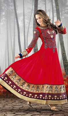 Neha Dhupia Blue and Red Embroidered Georgette Long Anarkali Suit Price: Usa Dollar $155, British UK Pound £91, Euro114, Canada CA$167 , Indian Rs8370.