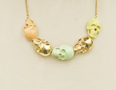 Pastel & gold skull necklace.