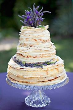Yummy layered cake with lavender sprigs. 44 Loveliest #Lavender #Wedding #Ideas