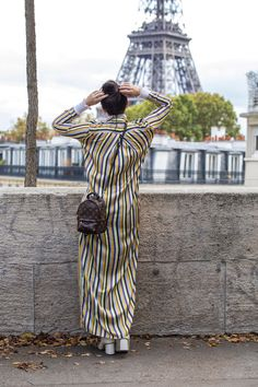Gucci  Marmot Boots & Louis Vuitton Palm Springs Mini Backpack worn with Acne striped Dress & Jeans by Stella Asteria - Fashion & Lifestyle Blogger during #PFW SS'18 - Paris Streetstyle