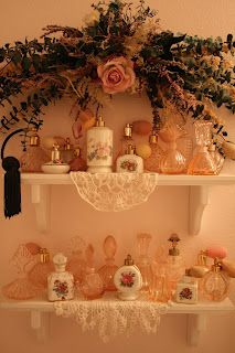 vintage collection of perfume bottles