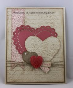 By Nanci Siegrist. Hearts were either die-cut or punched. The 3 smaller hearts were dry-embossed.