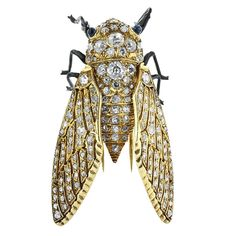 Diamond Gold Insect Pin | From a unique collection of vintage brooches at https://www.1stdibs.com/jewelry/brooches/brooches/