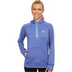 adidas Ultimate Fleece Pullover Hoodie Women's Workout, Blue ($35) ❤ liked on Polyvore featuring activewear, activewear tops, blue, hooded pullover, blue pullover, fleece pullover, adidas activewear and adidas