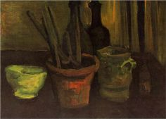 VINCENT VAN GOGH Still Life of Paintbrushes in a Flowerpot (1884)