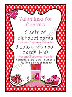 Valentine Number and Alphabet Cards - Valentine Number and Alphabet Cards 3 different sets of Alphabet and Number cards .  A GIVEAWAY promotion for Valentines for Center from Preschool Printables on TeachersNotebook.com (ends on 11-30-2013)