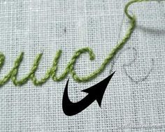 Stem stitch is a beautiful rope-like hand embroidery stitch that works great for writing with a needle and thread. Tutorial.