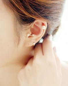 Pearl Ear Cuffs Girls Wardrobe, Stud Earrings, Pearls, Elegant, Silver, Gold, Ear Cuffs, Jewelry, Design