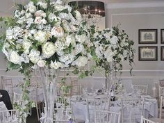 Big tall Centrepieces are the best way to create a breathtaking memorable impact for you & your guests like these @hollinhallcountryhouse  Hydrangeas peonies roses and ivy trails on luxurious glassware