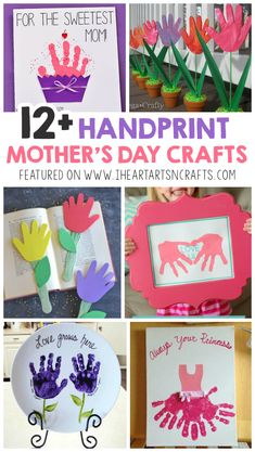 12 Adorable Handprint Mother's Day Crafts For Kids I Heart Arts n Crafts - Easy Crafts for All Easy Mother's Day Crafts, Mothers Day Crafts For Kids, Diy Mothers Day Gifts, Mothers Day Cards, Fun Crafts, Arts And Crafts, Mothers Day Gifts Toddlers, Handmade Gifts For Grandma, Toddler Crafts