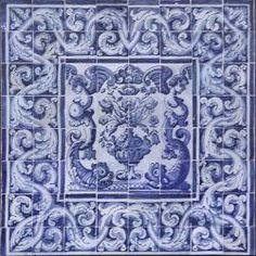 XVIII Antique Portuguese Azulejo Tile Panel ALBARRADA Flowers 1.12M x 1.12M | PORTUGUESE TILES AZULEJOS WHOLESALE FROM PORTUGAL Mediterranean hand painted decorative pieces