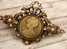 Große Kamee Haarspange in hellbraun bronze Braut Haarschmuck